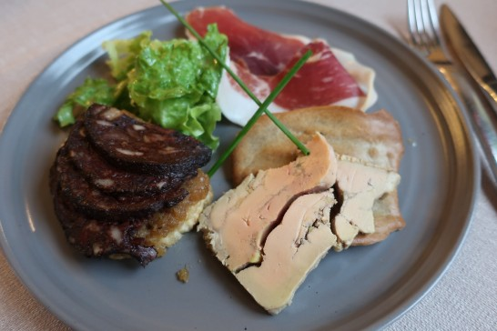 Jambon cru , foie gras and boudin noir for appetizer