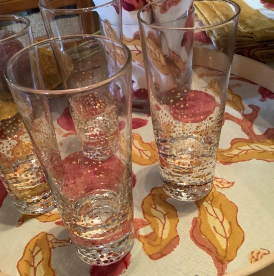 new champagne flutes with gold speckles