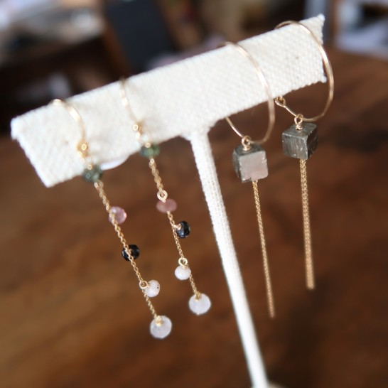 Semi precious stones dangling earrings $45 , Hoops with pyrite $42