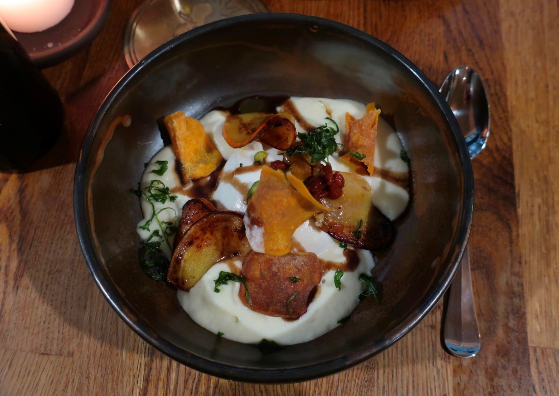 warm burrata with roasted persimons